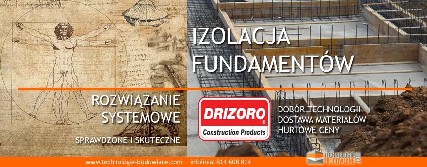 izolacja fundamentu od wewnątrz - system Drizoro